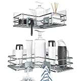 Nieifi Adhesive Corner Shower Caddy Shelf with Hooks, Rust Proof Stainless Steel Bathroom Shelf No Drilling 2 Pack