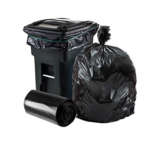 Plasticplace 64-65 Gallon Trash Can Liners for Toter ? 3.0 Mil ? Black Heavy Duty Garbage Bags ? 50