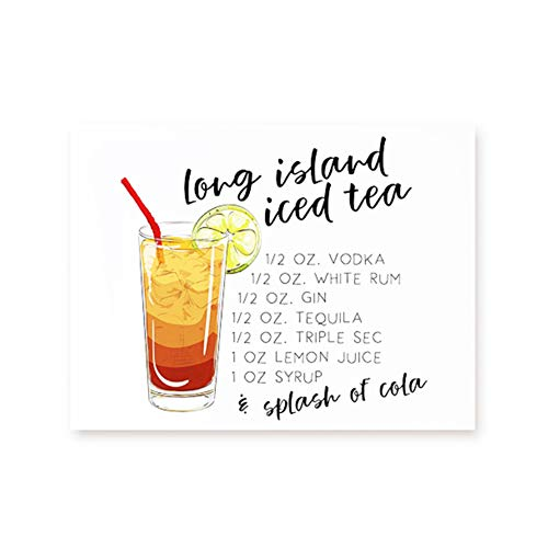 Long Island ijsthee Canvas Art Print en Poster Cocktail Drinken Recept Kunst Schilderij ijsthee Foto Bar Wall Art Decor-40x60cm Geen Frame