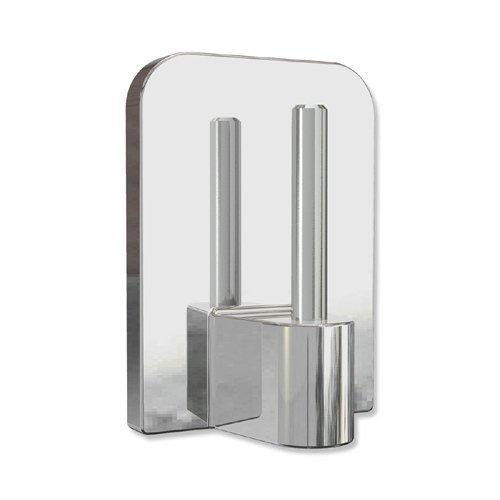 INTERDECO Klebehaken mit Metallstift in Chrom farbig für Vitragestangen (4 Stück)
