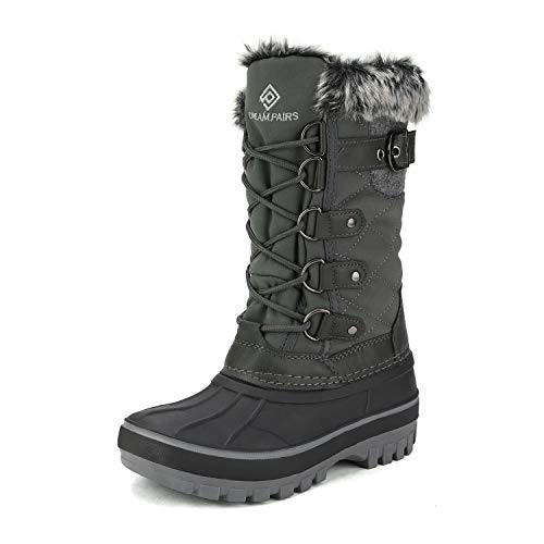 DREAM PAIRS Boys Faux Fur Lined Insulated Waterproof Winter Snow Boots Black Grey Kriver-1 Size 6 M US Big Kid