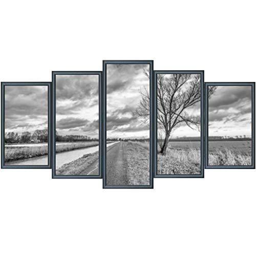 RAABEC Bilderrahmen für Polyptychon Malen nach Zahlen Bilder z.B. von Schipper, 5 Teile fertig montiert, Farbe Schwarz