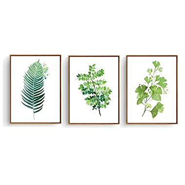 Hepix Canvas Wall Art 3 Pieces Tropical Green Leaves Painting Botanical Plants Framed Wall Decor for Modern Home Bedroom Pictures Stretched 13 x 17 inch