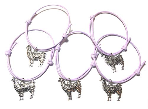 FizzyButton Gifts Set of 5 Lilac Cord Bracelets Each with Silver Tone Llama Alpaca Charm