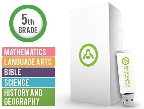 Switched On Schoolhouse 5º Grau Homeschool 5 Assunto Currículo Conjunto - Ano Inteiro da Biblia, História e Geografia, Idiomas, Matemática e Cursos de Ciência - Classe USB de Estudantes Domésticos para Grau 5