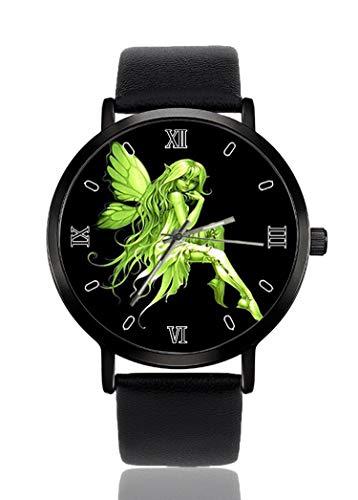 Reloj de Pulsera de Hada Verde para Hombres y Mujeres, Casual, Correa de Piel, analógico, de...