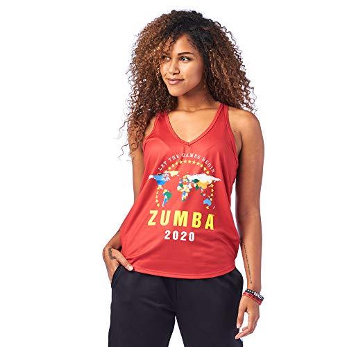 Zumba Dance Atlético Estampado Fitness Camiseta Mujer Sueltas de Entrenamiento Top Deportivo, Really Red-y, Medium