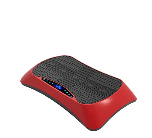 vitality4life VibroSlim 4D Vibrationsplatte Massgegerät Vibrationstraining - 7 Kombinationen + Massage, Widerstandbänder, Bluetooth, Armbandsteuerung (Rot)