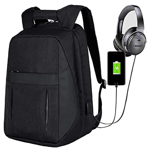 HLLZL Sac à dos pour ordinateur portable anti-vol avec port de chargement USB, sac à dos de charge de 17 pouces, sac à dos de sécurité Sac à dos en toile de sac à dos USB étanche pour hommes femmes vo