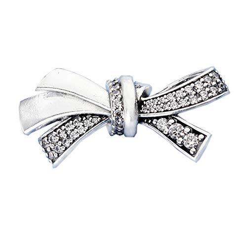Bakcci 2018Mother Day Gift Brilliant Bow CZ argento 925originale DIY adatto per Pandora braccialetti charm Fashion Jewelry