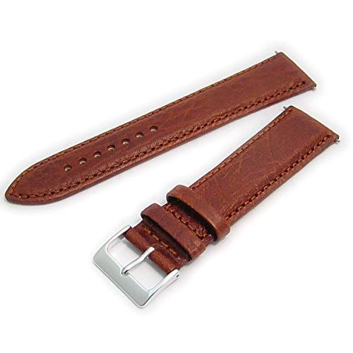 Verona XL-Uhrenarmband, gepolstert, Leder, Farben Camel, extra lang, 18mm breit, hellbraun, mit silberfarbener Chrom-Schnalle