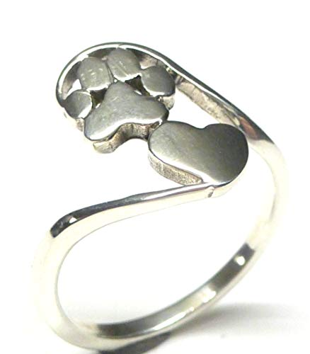Anillo de plata de ley con forma de corazón, diseño de perro, talla 61-19,4, regalo para amantes...