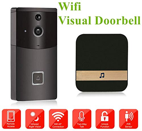 Lsmaa WIFI Video deurbel Smart deurbel wareless Home Security Camera, met PIR Motion Detection en twee-weg intercom, App Control voor smartphone