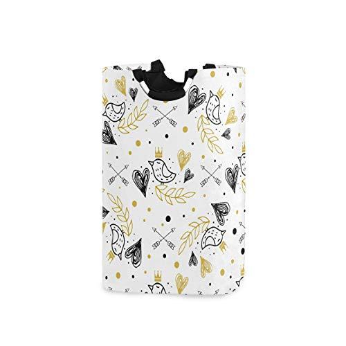 UMIRIKO Cesto de lavandería bolsa lindo pájaro patrón de dibujos animados plegable cestas de lavandería cesto de tela bolsa de ropa 50L con asas 2020362