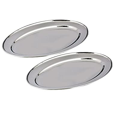 Kosma Set of 2 Stainless Steel Oval Trays. Serving Platter in Size – 65 cm, Rice Plate | Designer Tableware