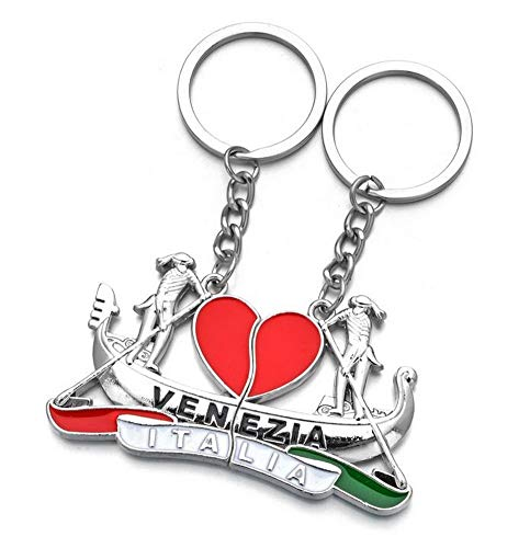 Schlüsselanhänger, Taschenschmuck, Herz und Gong von Venedig Italien, zum trennen, für Paare.