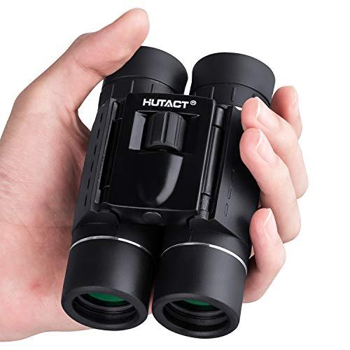HUTACT Prismáticos Profesionales, Mini Plegable de 10x25 BAK4 para Niños y Adultos, Impermeable, Prismaticos Pequeños y Potentes Ideal para Observación de Aves, Conciertos, Juegos Deportivos, etc.