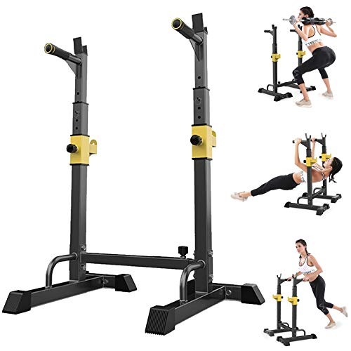 Yinguo Olympic Squat Rack, Power Stands Barbell Adjustable Free Bench Press Weight, Dipping Station Weight Lifting Men Women Indoor Home Gym Fitness, Dumbbell Racks Stands, Max Load 551LBS, Xmas Sale