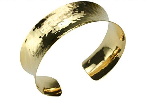 SILBERMOOS Klassischer Damen Armreif Armspange offen glänzend gehämmert vergoldet 925 Sterling Silber