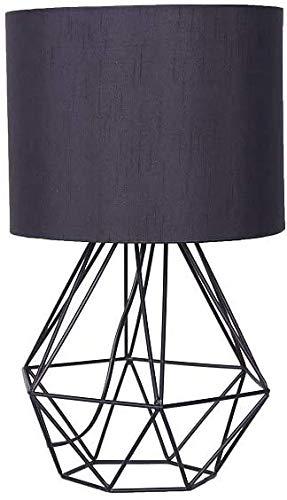 Moderne geometrische tafellamp zwart of wit diamant design metalen mand kooi licht bedlampje met stof lampenkap (wit)