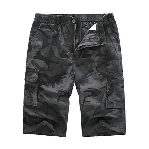 FRAUIT Bermuda Cargo Uomo Taglie Forti Plus Size Oversize Pantaloni da Lavoro Ragazzo Estivi Corti Pantaloncini Shorts Uomini Pantalone Casual Elegante Slim Fit Militare con Tasche Laterali Mimetici