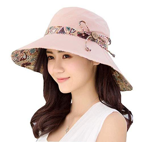 Lady Summer Sonnenhut Doppelseitig mit Visier UV-Schutz Strandhut Reiten Fahrrad Travel Cap (Farbe: Pink, Größe: 58cm)