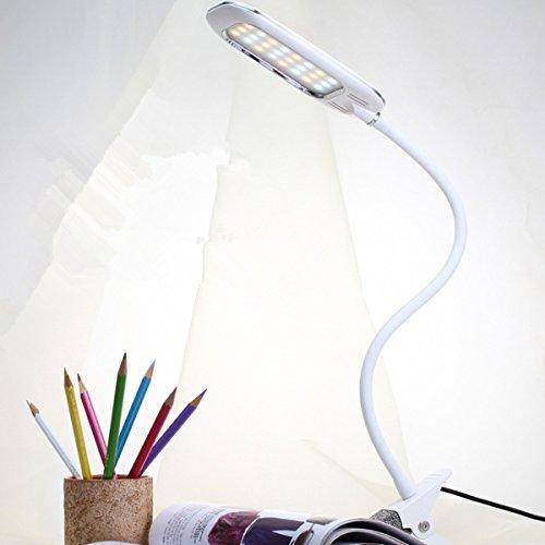 Illuminazione con Clip, GLISTENY Lampada Tavolo Tre Temperature di Colore , 3 Modalità Illuminazione, 360° Lampada Stelo Flessibile a Collo d'oca, Porta USB per per Lettura o Studio, Camera, Ufficio