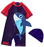 One-Piece UPF 50+ Baby Swimsuit in Fun Prints - UV Sun Protection Big Shark (18-24 Months)