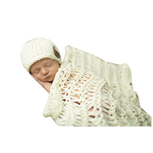 Newborn Baby Photography Photo Props Boy Girl Costume Outfits Hat and Blanket (White)