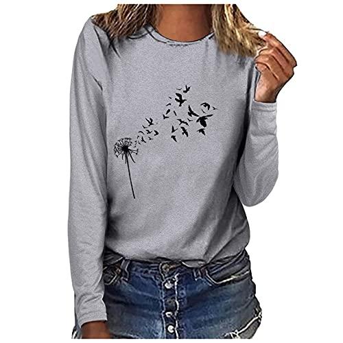 T-Shirt Chemise Henley décontractée à Manches Longues et col Rond pour Femmes Blouse Femme Chemisier Tunique Haut Tshirt Impression Pissenlit à Manches Longues Décontractéehauts d