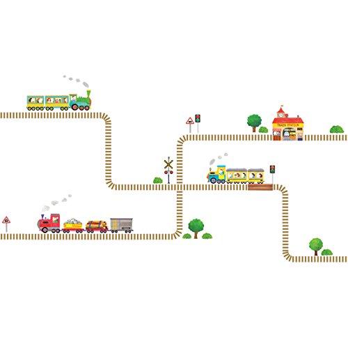 DECOWALL DW-1504 Zug Gleise Transporte Autos Fahrzeuge Wandtattoo Wandsticker Wandaufkleber Wanddeko für Wohnzimmer Schlafzimmer Kinderzimmer