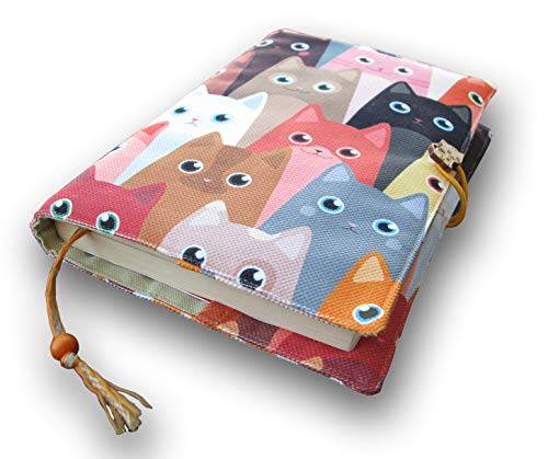 Fabric Novel Book Sleeve for Adult, Books Cover for Paperback, Cute Cats Pattern, Washable Book Protector- Padded Case for Novel 5.5 x 8 (Cute Cats)