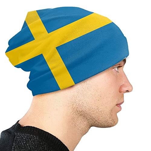 Onled Herren Winter Strickmütze Outdoor Sport Mütze Weich Warm Skimütze Damen Beanies Hat Schweden Flagge