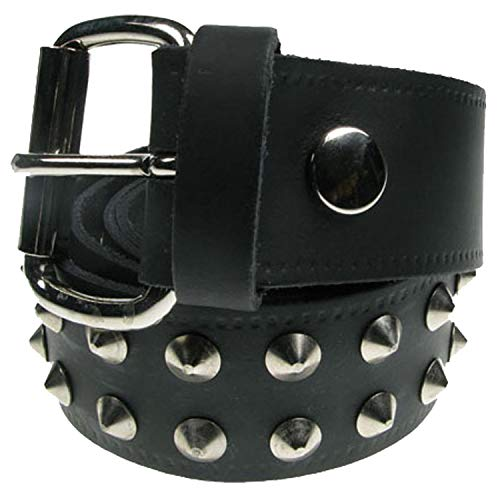 Gothic Punk Studded Silver Conical 2 Row Real Black Leather Handmade In England B003