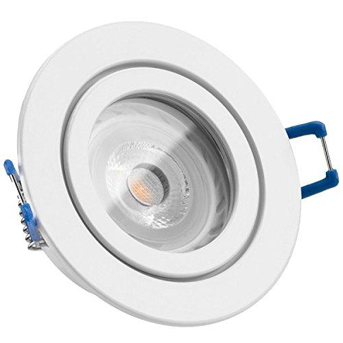 IP44 LED Einbaustrahler Set Weiß mit LED GU10 Markenstrahler von LEDANDO - 7W - warmweiss - 30° Abstrahlwinkel - Feuchtraum/Badezimmer - 50W Ersatz - A+ - LED Spot 7 Watt - Einbauleuchte rund