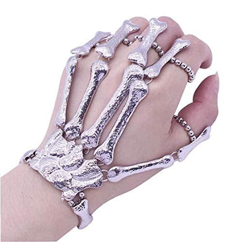 Aisoway Dedo del Punk Cráneo De Steampunk Partido Brazalete Pulsera Bond Gótico Huesos Esqueléticos Puntales Regalo De La Decoración