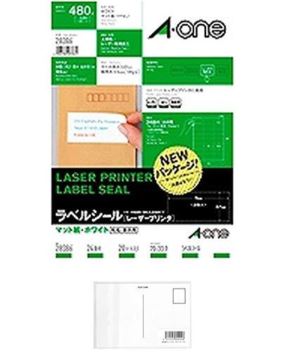 エーワン レーザープリンタラベル24面20入 28386 【まとめ買い3パックセット】 + 画材屋ドットコム ポストカードA