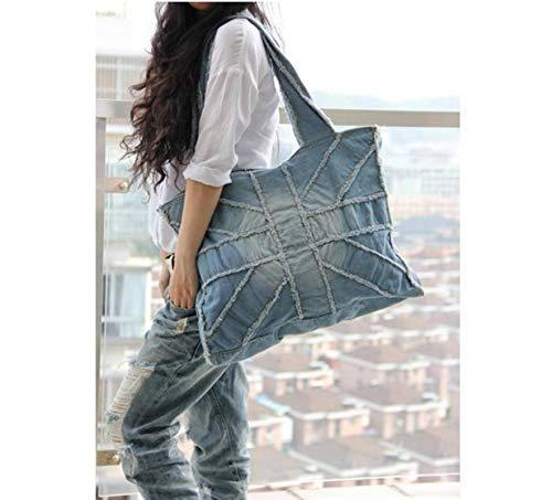 N-B Fashion Men's and Women's Shoulder Bag Denim Bag Washed Rice Word Large Gym Bag Leisure Travel Bag