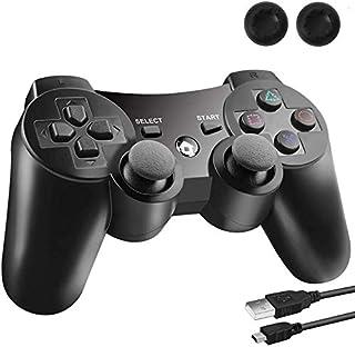 PS3 コントローラー PS3 ワイヤレスコントローラー Bluetooth ワイヤレス ゲームパッド 【日本Amazon倉庫配送】DUALSHOCK3 USB ケーブル 振動機能 充電式 アシストキャップ 2枚付き【1年安心保障付き】