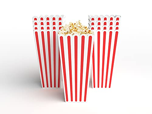 """Popcorn Set (Pack of 10) - 3"""" x 3"""" x 8"""" x 2.3"""" Reusable & Unbreakable Popcorn Buckets with Anti-Smudge Paint - Leakproof & Dishwasher Safe Movie Night Supplies - BPA-Free Popcorn Container Set"""