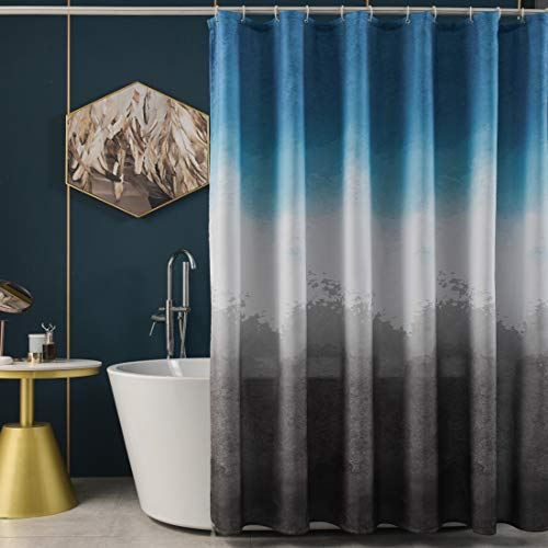 TUDECO Blue Shower Curtain - Unique Splash Color Block Grey and Blue Shower Curtain Set, Waterproof Fabric Ombre Shower Curtain Blue Bathroom, Soft Cloth Shower Curtain Washable, 72 x 72 Inch, 1 Panel