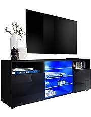 ExtremeFurniture TV Kast T38, Karkas in Zwart Mat/Front in Zwart Hoogglans + Veelkleurige LEDs met Afstandsbediening