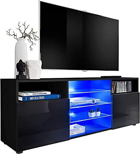 ExtremeFurniture T38 TV Lowboard, Karkasse in Schwarz Matt/Front in Schwarz Hochglanz mit LED in Blau