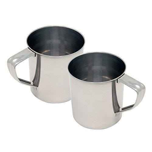 ToCi Lot de 2 grandes tasses en acier inoxydable de 450 ml avec anse pour camping en plein air