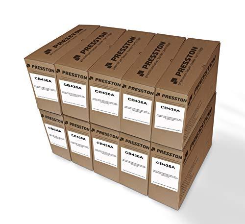 Presston CB436A - 10 cartuchos de tóner negro regenerados compatibles con HP Laserjet Enterprise M1120 MFP M1522nf P1505n