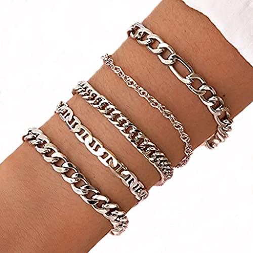 Branets Punk - Juego de pulseras de cadena de eslabones en capas, accesorios de mano de plata, joyería para mujeres y niñas (5 piezas)