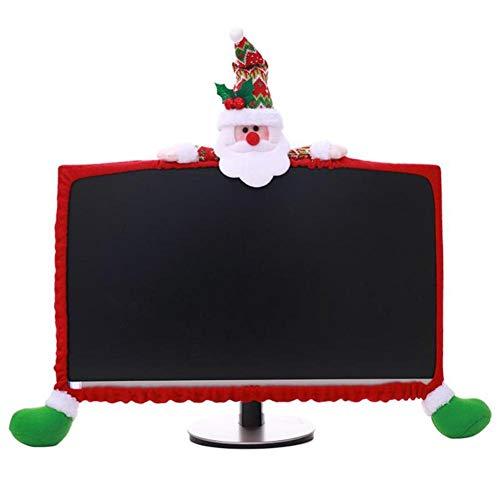 Sunnyushine Computer-Monitorabdeckung Weihnachten Deko Bildschirm Schutzhülle Dreidimensionale Cartoon-Dekoration,für Zuhause, Büro(Weihnachtsmann/Rentier/Schneemann)