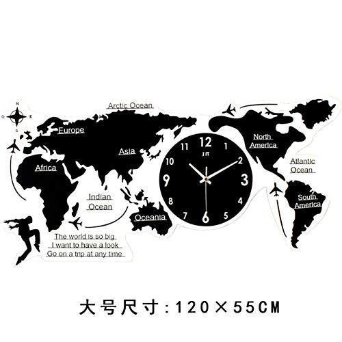 Large Diy Acrylic Wall Clock, Black World Map 3d Self Adhesive Wall Sticker Living Room Decorative Mute Quartz Clock-big 120x55cm(47x22inch)