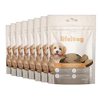 Marque Amazon - Lifelong - Friandises pour chiens, riches in protéines avec dinde (8 pack x 300gr)