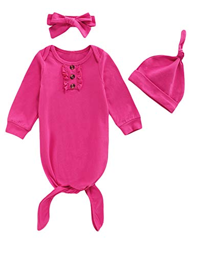 Dramiposs - Camisones de manga larga para recién nacidos con gorro y diadema,  Rosa Rojo01, 0-3 meses